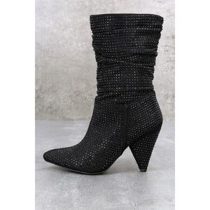 Report Cache Black Shimmer Slouchy Rhinestone Boot